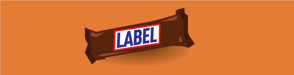 Illustration of candy bar on orange background