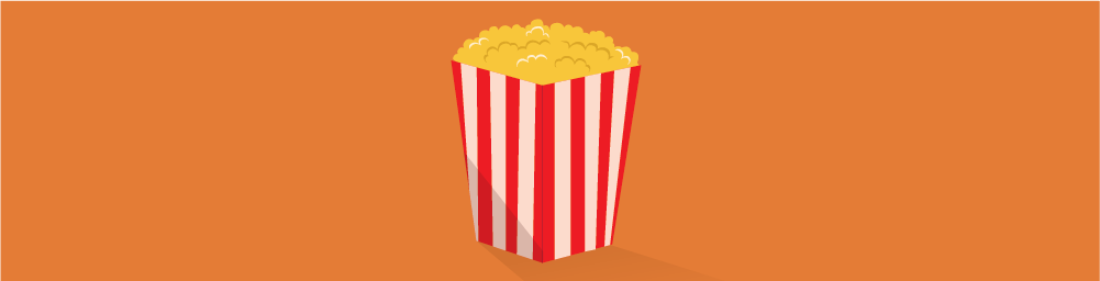 Illustration of popcorn in striped box