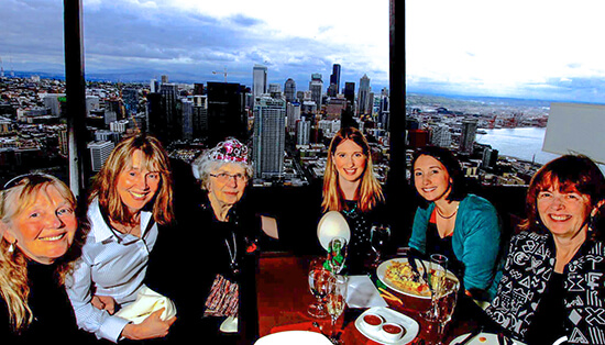 Photo: Family members celebrate Peggy Kleyn's birthday. From left to right Carol Kleyn, Marilyn Kleyn, Peggy Kleyn, daughters of Marilyn  ̶  Amanda Hahnel and Samantha Sloane  ̶  and Jeanne Kleyn.
