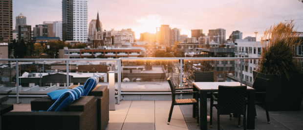 Image of rooftop deck in the summer